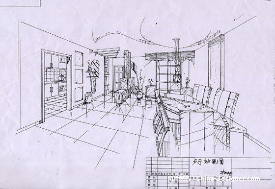 餐厅手绘效果图-黄忠的设计师家园-餐饮酒吧