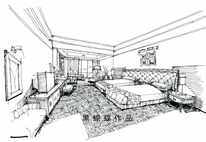 手绘效果图-黑蝴蝶的设计师家园-住宅公寓