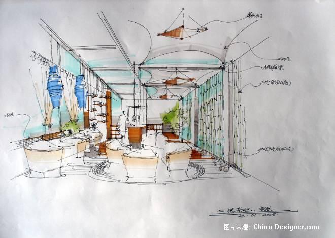 茶馆室内透视图手绘