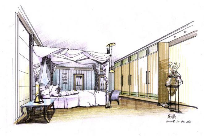手绘效果图表现05-廖娟的设计师家园-住宅公寓