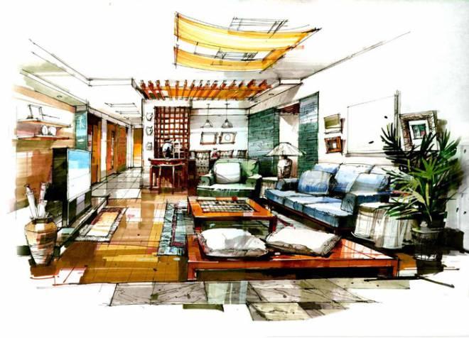 手绘室内效果图-勇勇^_^的设计师家园-住宅公寓