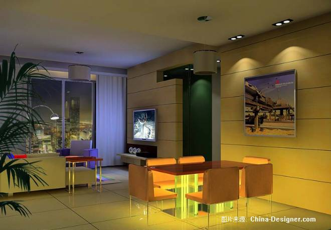 晚上客厅图3d光传-章坚的设计师家园-住宅公寓