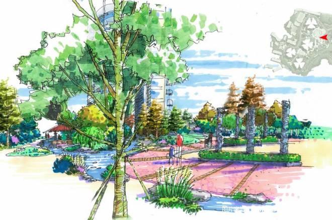 大黄路-中心广场手绘-拓邦建筑设计机构的设计师家园-住宅公寓