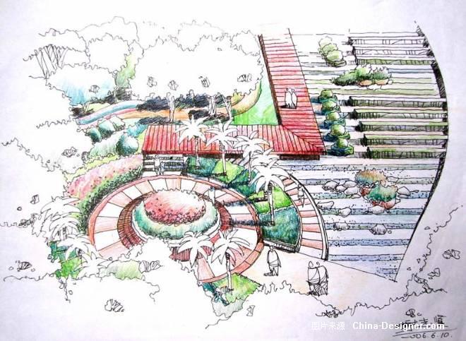 手绘练习-谢志贤的设计师家园-公园广场