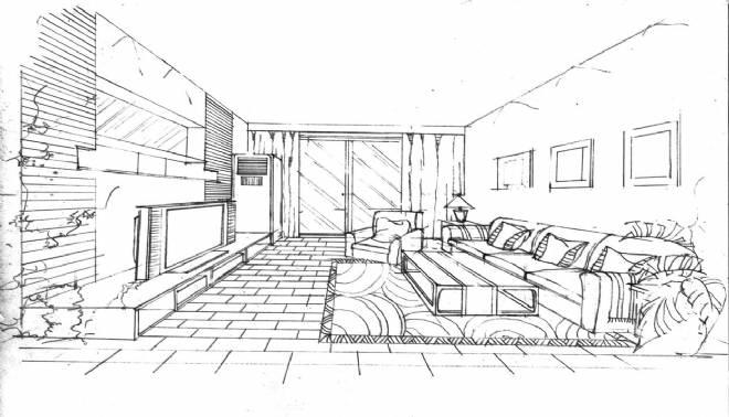 客厅草图设计方案-谭娜的设计师家园-住宅公寓