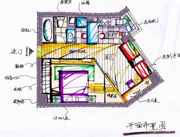 绿洲花园手绘平面图-毛承洪的设计师家园-住宅公寓