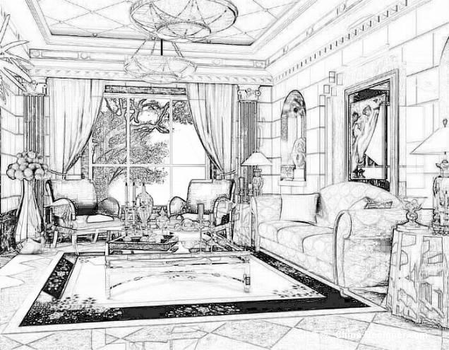 手绘欧式客厅-孽灵的设计师家园-住宅公寓