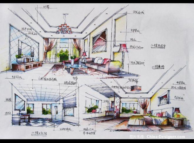 西安某别墅别墅装修绿地效果图图片
