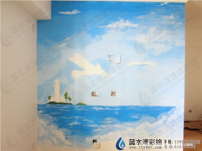翠城小区手绘墙风景图-北京蓝水滴墙绘设计中心的设计师家园-手绘墙图