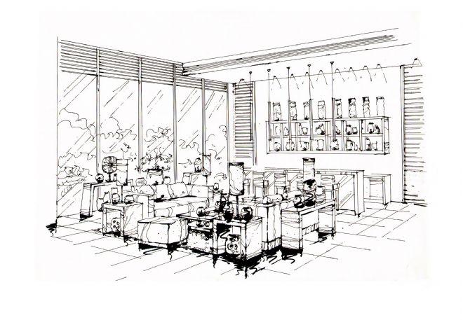 成都南天府創意公園售樓處手繪效果圖-任清泉的設計師家園-現代簡約