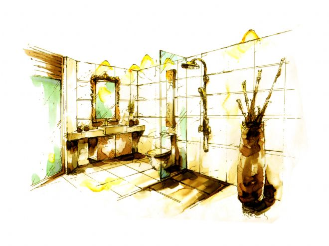 成都南天府创意公园8#楼a户型设计手绘效果图-任清泉的设计师家园图片