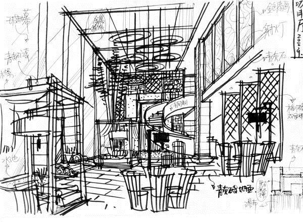 1f咖啡厅手绘