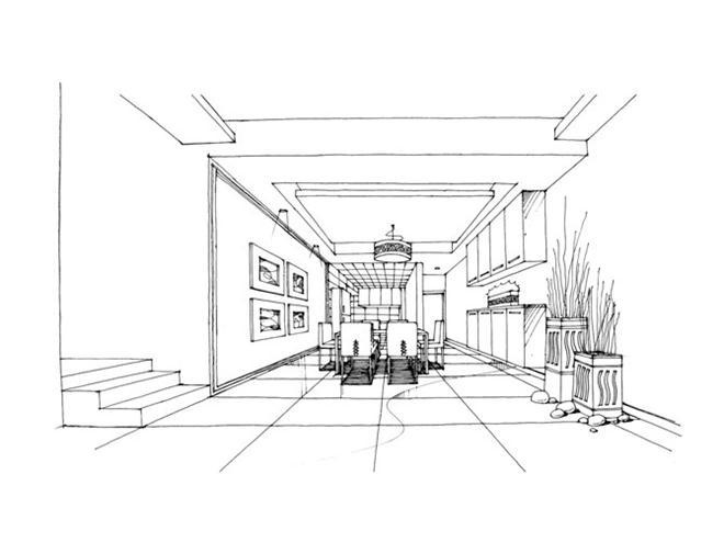 手绘(黑白稿)-陈小科的设计师家园-室内设计作品集