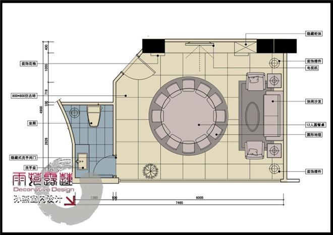10孙燕设计作品珠海金雅轩时尚餐厅-豪华vip包房平面布置图