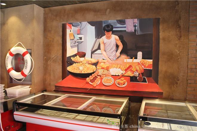 餐厅饭店创意3d立体画手绘墙
