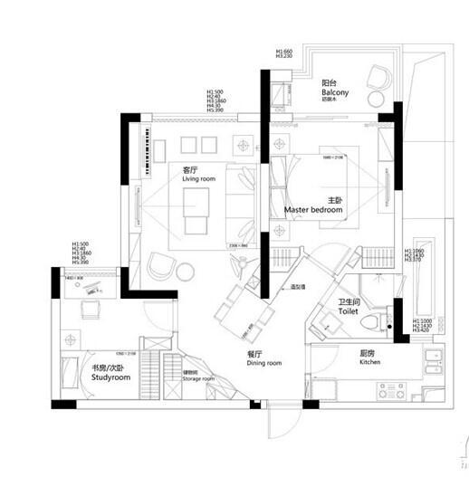 中铁国际城-邢桂长的设计师家园-两居,北欧式,简约大气,青春活力,闲静轻松,白色