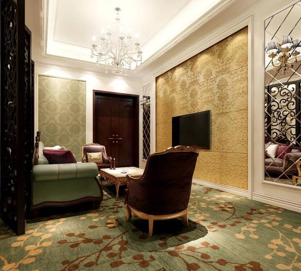 欧式风格休闲区电视背景墙装修效果图,欧式风格吊灯图片