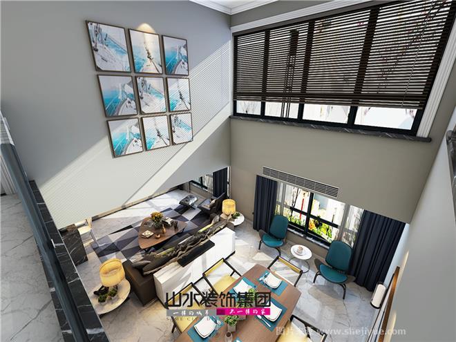 设计公司:山水装饰集团 项目小区:金色池塘 项目面积:240平米 项目户型:顶层复式 设计风格:现代简约 设计说明:业主家有两个还是,和父母一起居住,为了方便父母与孩子的日常活动,避免爬楼梯,一楼是三个卧室主要是作为父母房和儿童房使用。 入户靠近客厅处靠墙设计了一个长方形吧台,几个精致的小盆栽,加上工艺品,瞬间点亮了空间。 客厅、餐厅是一个开放式空间,挑高的餐厅,视野开阔,阳光透过纱窗洒进来,温暖整个室内。