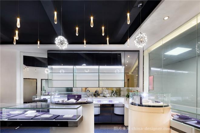 文华权设计-爱尼亚珠宝展厅-文华权的设计师家园-展厅,现代简约,简约大气,沉稳庄重,蓝色,黑色,白色
