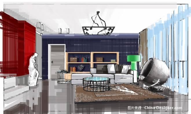 客厅手绘-唐誉国际设计师工作室的设计师家园-30-50万,别墅,客厅,红色