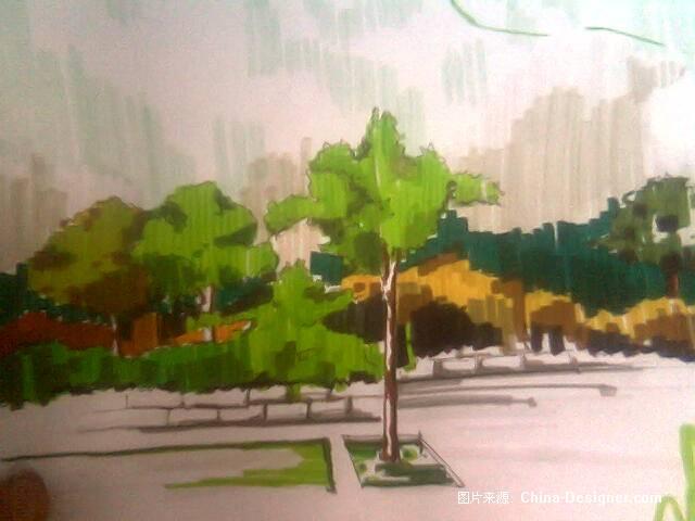 马克笔手绘风景-杜鑫的设计师家园-绿色
