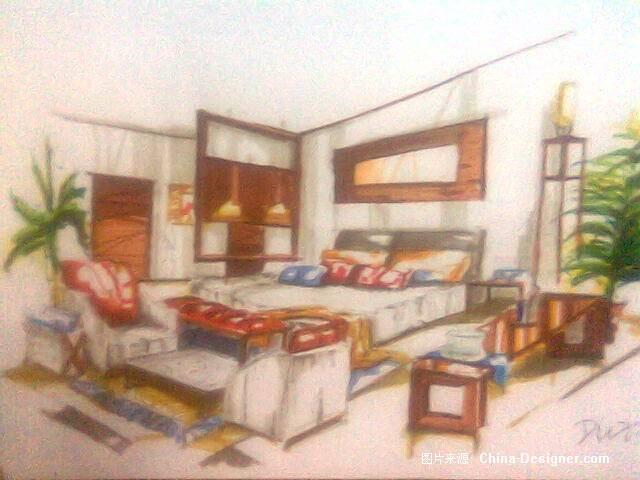 马克笔手绘效果图007-杜鑫的设计师家园-中式