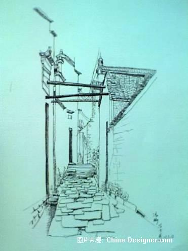 徽派建筑手绘-冯彬的设计师家园-黑色