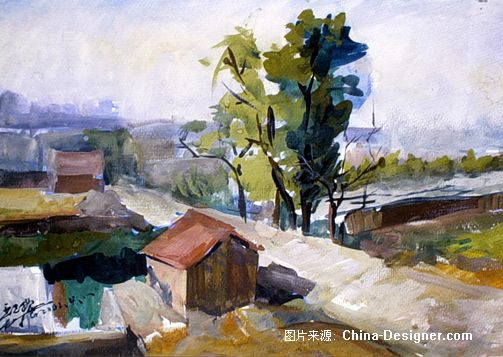 水粉风景2001上学写生-王久刚的设计师家园-灰色