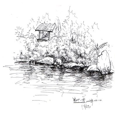 水笔风景画简单又漂亮