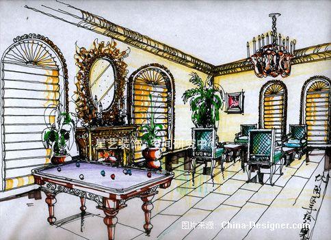 7(娱乐室手绘图)-聂林的设计师家园-欧式