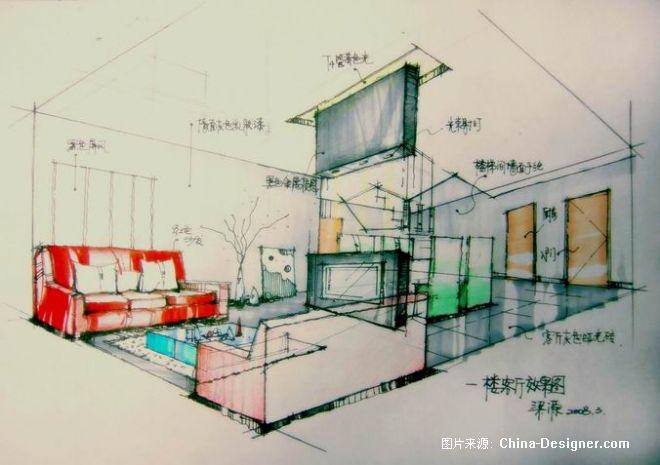 手绘客厅透视图-梁源的设计师家园-酷家