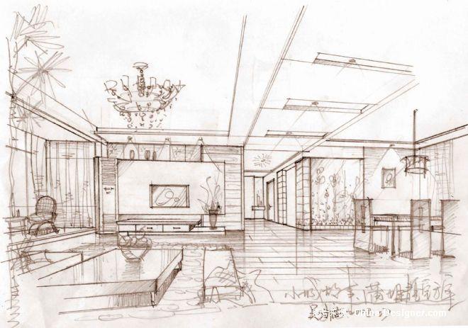 高先生手稿透视-基米的设计师家园-客厅