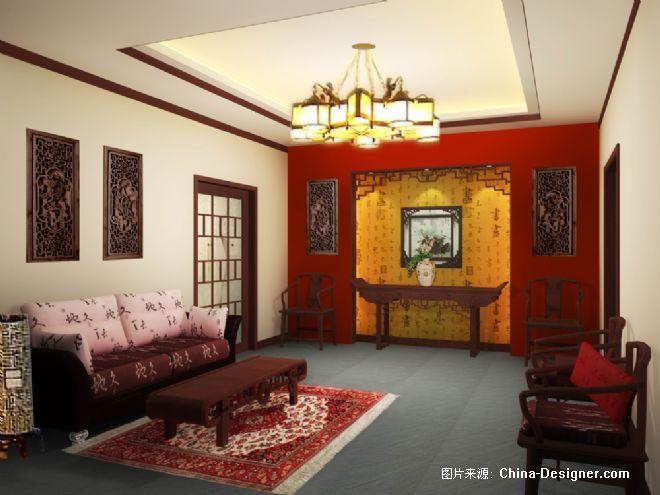 别墅-堂屋-王蒙的设计师家园-10-20万,三居,客厅,黄色,中式图片