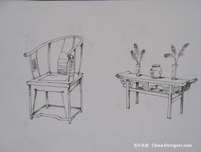 国内外家具手绘图