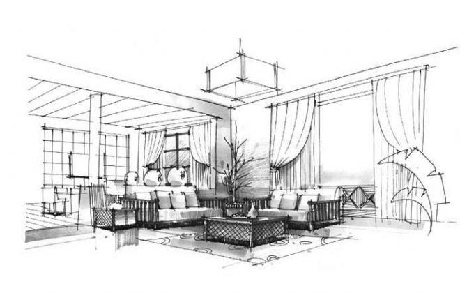 手绘-张倩的设计师家园-客厅