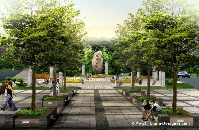上饶县惟义公园入口广场效果图-世昌园林装饰设计事务所的设计师家园
