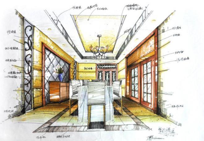 餐厅透视图-欧工的设计师家园-奢华
