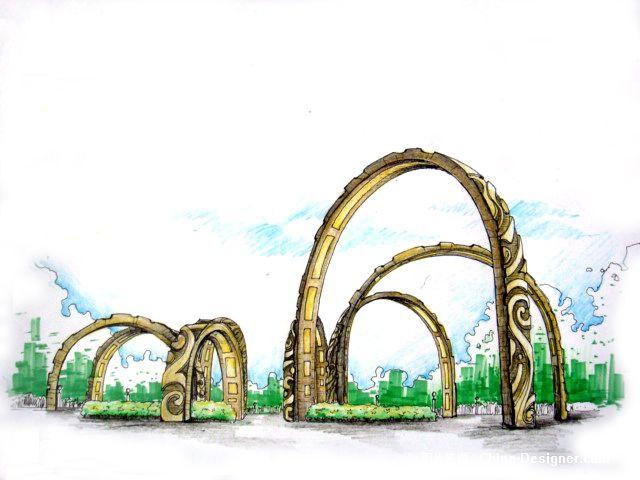 广场景观小品-周锐的设计师家园-广场景观设计手绘效果图