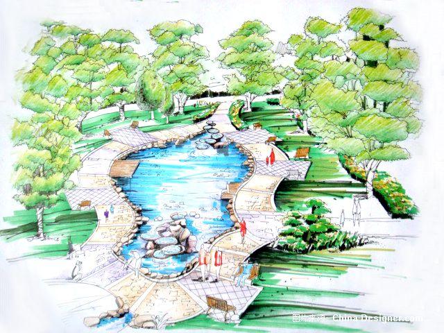 广场景观小品5-周锐的设计师家园-广场景观手绘效果图