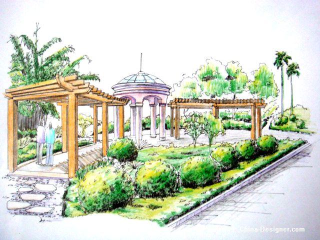 广场景观小品8-周锐的设计师家园-广场景观小品手绘效果图