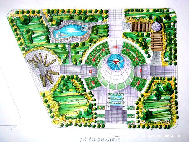 广场景观小品12-周锐的设计师家园-广场景观平面手绘效果图