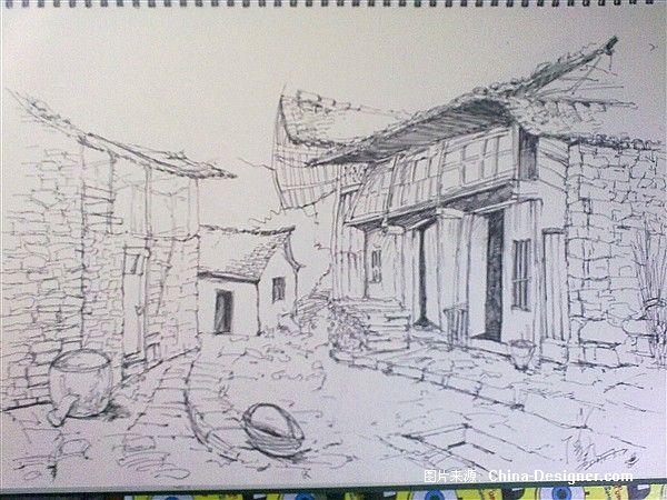 写生速写8-傅枫嘉的设计师家园-风景,写生,素描,黑色速写,中式