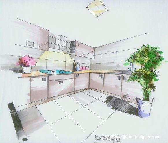 厨房手绘图-陈辰的设计师家园-后现代奢华