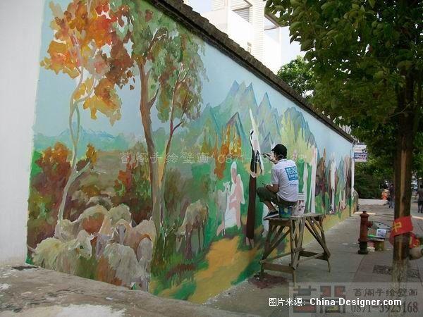 昆明苔阁手绘墙壁画-云南昆明苔阁壁画雕塑艺术工程有限公司的设计师图片