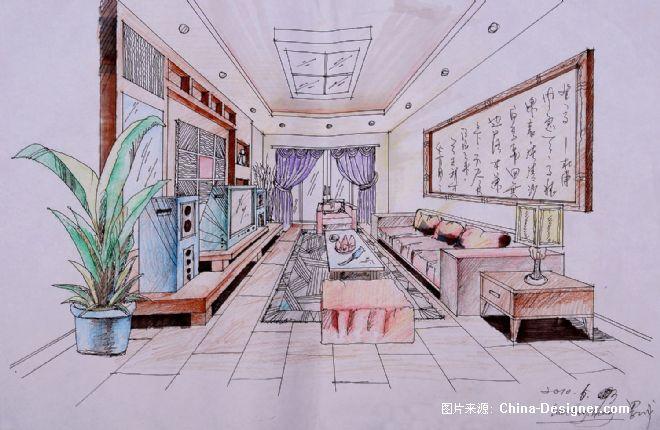 客厅手绘效果图-长城的设计师家园-中式