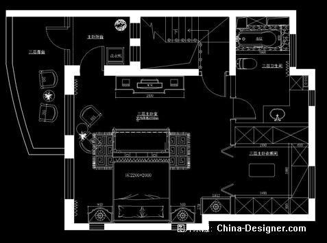 三楼主卧家具布置图-张宇恒的设计师家园-别墅