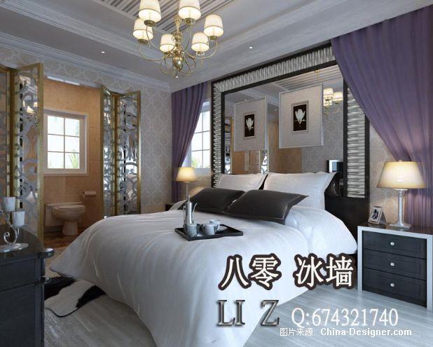 现代简欧式室内效果图客厅80冰墙室内设计81-李震的设计师家园-5-10万