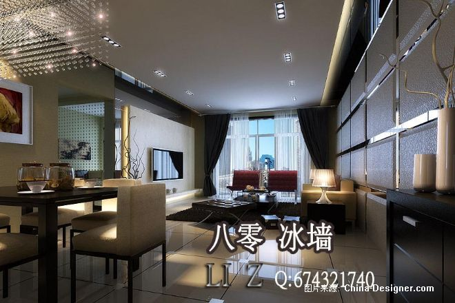 现代简欧式室内效果图客厅80冰墙室内设计48-李震的设计师家园-5-10万