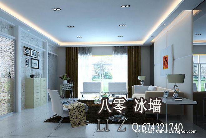 现代简欧式室内效果图客厅80冰墙室内设计30-李震的设计师家园-10-20