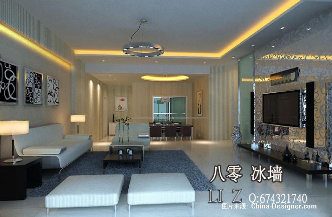现代简欧式室内效果图客厅80冰墙室内设计17-李震的设计师家园-10-20